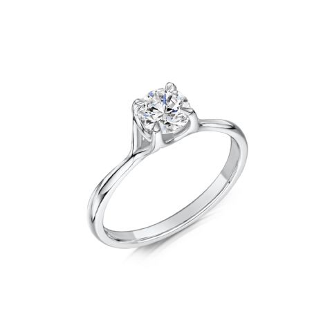0.33 Carat GIA GVS Diamond solitaire18ct White Gold Round Cross over Engagement Ring MWSS-1206/033